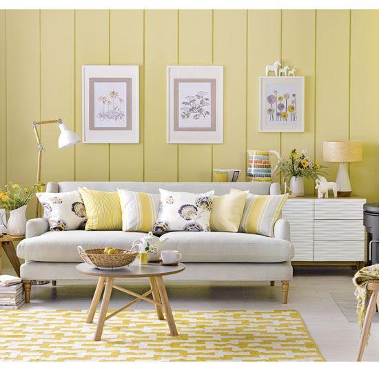 Scandi Yellow And Grey Living Room