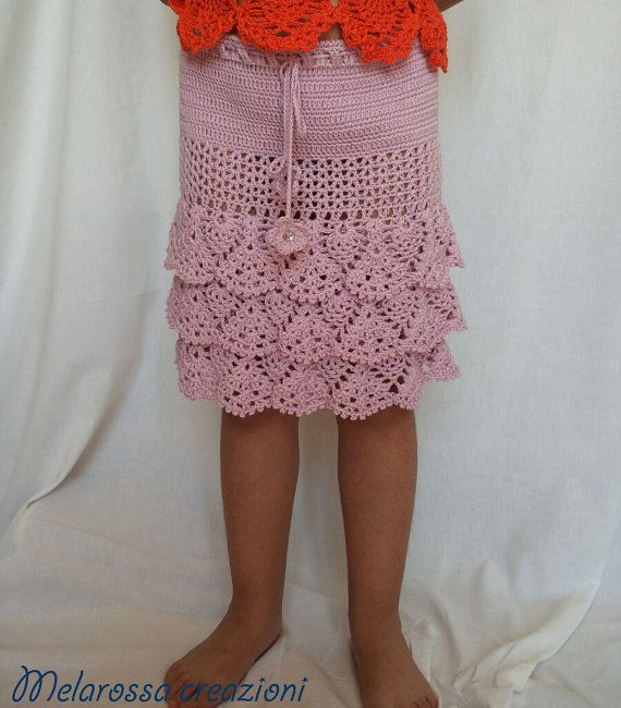 Gonna a balze rosa abbigliamento per bambina di MelarossaCreazioni