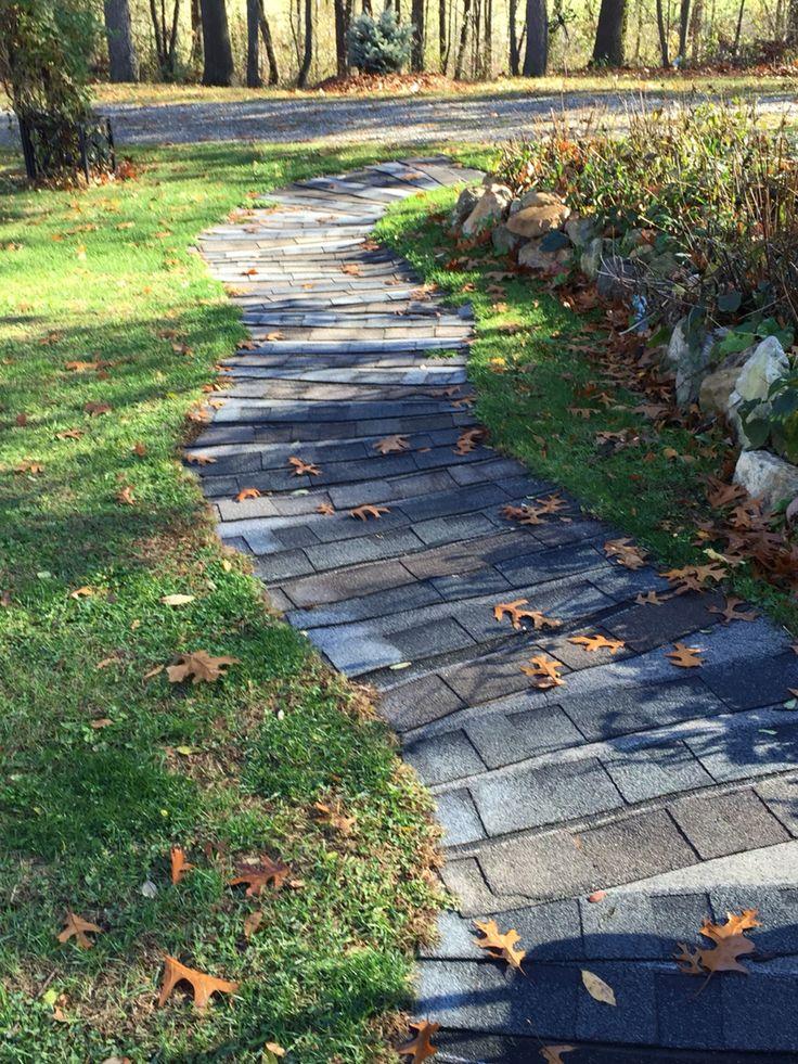 Repurposed Asphalt Shingles Into A Garden Path Or Deck