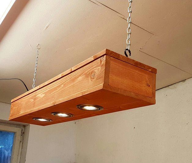 Abgehngte Holz Lampe Mit 3 LEDs Spots
