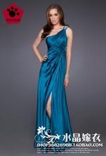 El estilo del hombro largo vestido de fiesta a finales de los paquetes de hotel vestido azul     $117.00 Gown, attire,evening dress