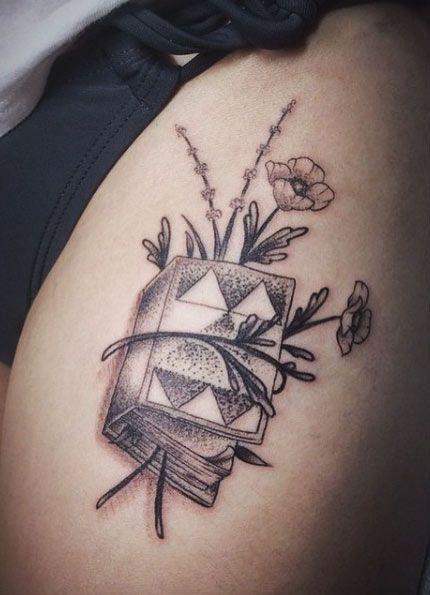 Naturalistic Book Tattoo Design
