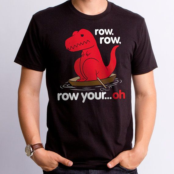 Row Your Oh (GT4290-101BLK) Men's Shirt. Dino tees, dinosaur tees, funny dino shirt, funny men's t-shirt, nerdy, geeky gift, funny boat tee.