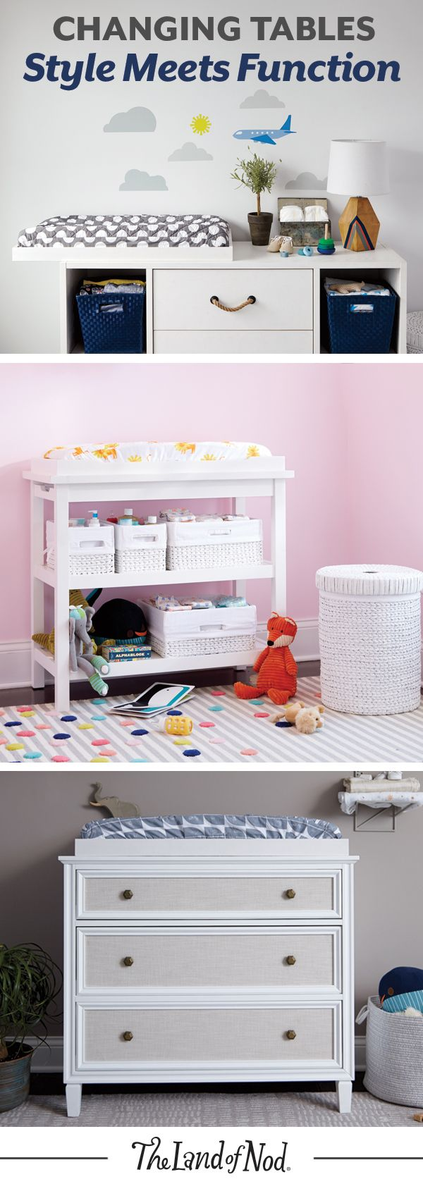 Stylish and versatile, a diaper changing station is an essential for any nursery. Designing an instant changing table for your baby is easy by placing a changing table topper on a wide dresser. Then, add storage bins to hold diapers, lotions and more.