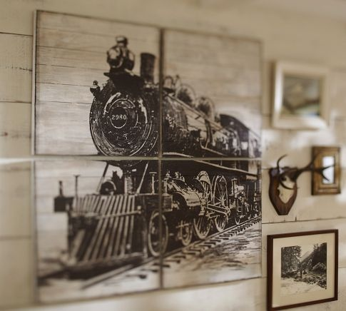 Because we live by train tracks... rustic stuff. Planked Train Panels | Pottery Barn