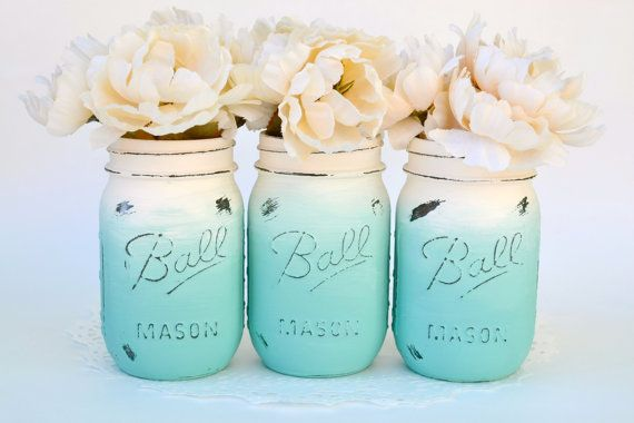 Mason Jar Decor Painted Mason Jars Ombre by PaintedPaintbrush