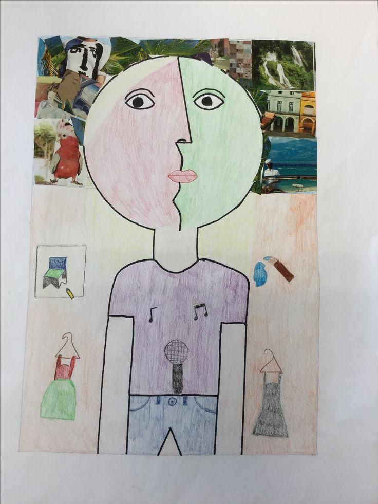 Deze collage/tekening is voor de opdracht cultureel zelfportret je moest dan een zelfportret met een schilder en cultuur erin maken. Ik vind het Picasso hoofd mooi gemaakt ik vind alleen dat de lucht de volgende keer beter mag.