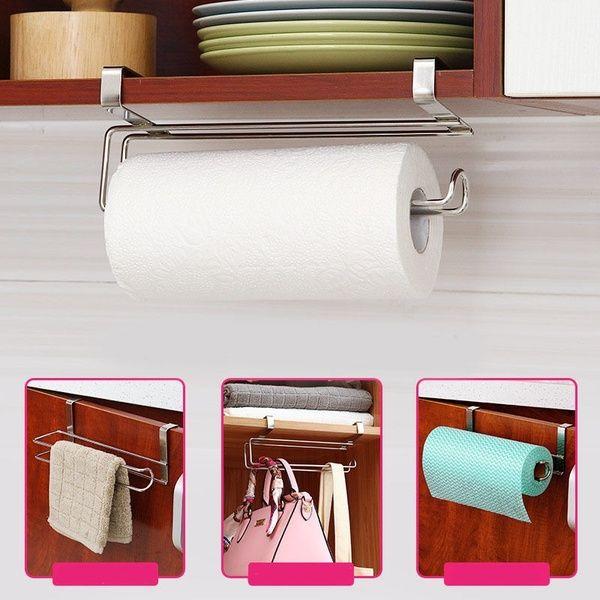 Stainless Steel Kitchen Closet Tissue Hanging Hook Holder Bathroom Roll Paper Holder Towel Rack Paper Towel Holder Kitchen Paper Towel Towel Holder