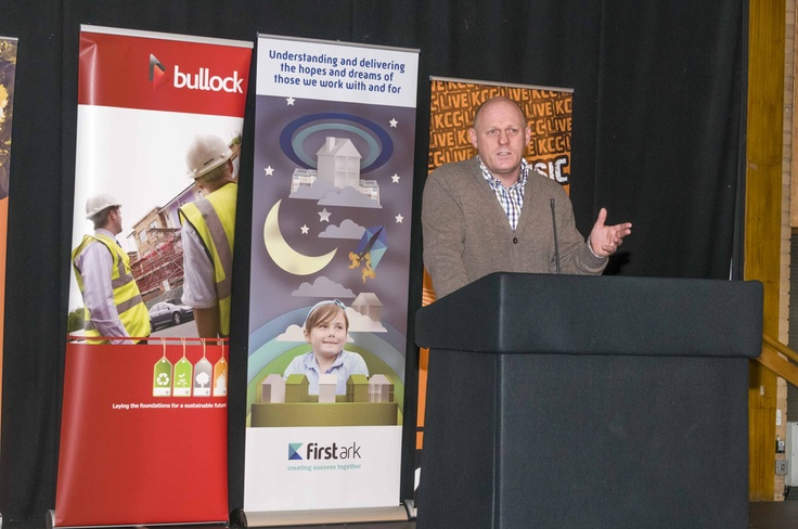 Motivational Speaker, Tosh Fielding MBE Sysco speaks to the crowd.  For more info about jobs and training, click here!
