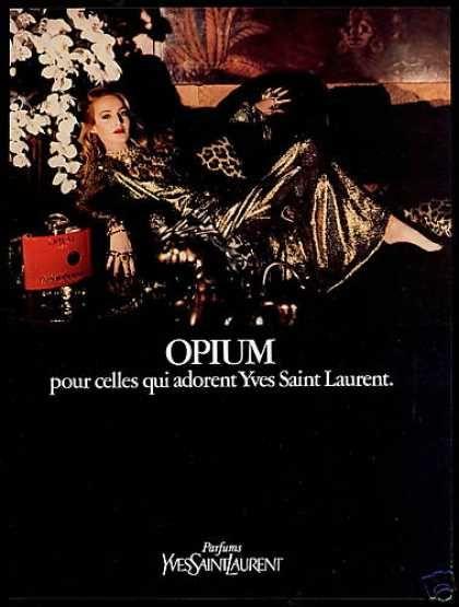 YSL Opium Perfume Jerry Hall Photo (1981)