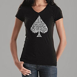 @Overstock - A list of winning poker hands creates the image of a spade on the front of this V-neck shirt from Los Angeles Pop Art. This short-sleeve tee offers a long, lean fit and all-cotton construction.http://www.overstock.com/Clothing-Shoes/Los-Angeles-Pop-Art-Womens-Spade-V-neck-Shirt/4860546/product.html?CID=214117 $17.99