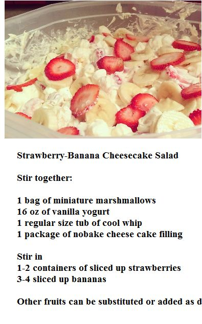 Banana cheesecake, Strawberry banana cheesecake salad and Strawberry ...