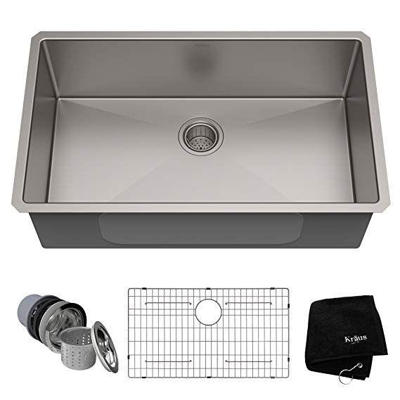 Kraus Standart Pro 32 Inch 16 Gauge Undermount Single Bowl Stainless Steel Kitchen Sink K Farmhouse Sink Kitchen Kitchen Sink Remodel Single Bowl Kitchen Sink