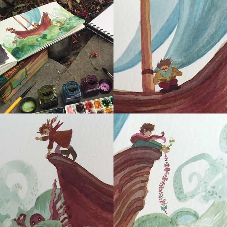 Yo ho, yo ho, a pirate's life for me...! #illustration #illustrator #inktober #ink #painting #art #artblog #artblogger #blog #blogger #pirate #reading #sea #ocean #waves #green #color #colour #colorful #colourful #autumn #october #adventure #octopus #monster #sailing #ship