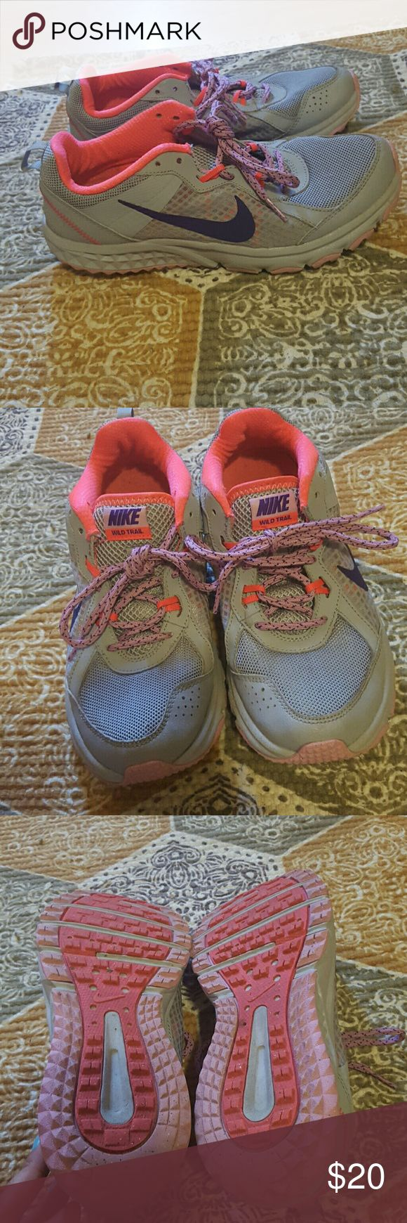 Nike wild trail shoes PRICE FIRM Nike purple grey shoes good condition Nike Shoes Athletic Shoes