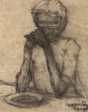 Albin Egger-Lienz – Das Gebet, 1904, Chalk