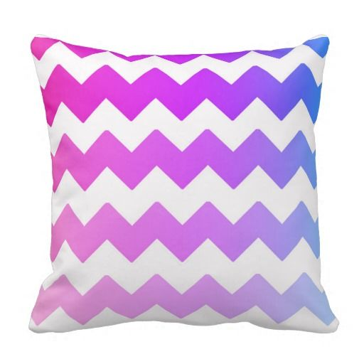 Rainbow Ombre Chevron Throw Pillow for teen girls bedroom decor #decampstudios