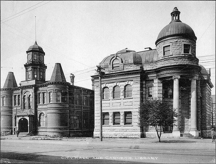 historical Vancouver, city hall & carnagie library