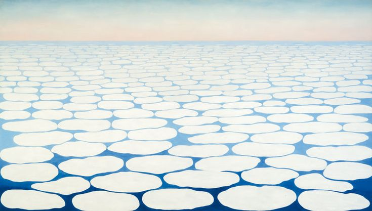 "Georgia O'Keefe. ""Sky Above Clouds IV"", 1965 Oil on canvas 243.8 x 731.5 cm (8ft x 24ft).  Huge."