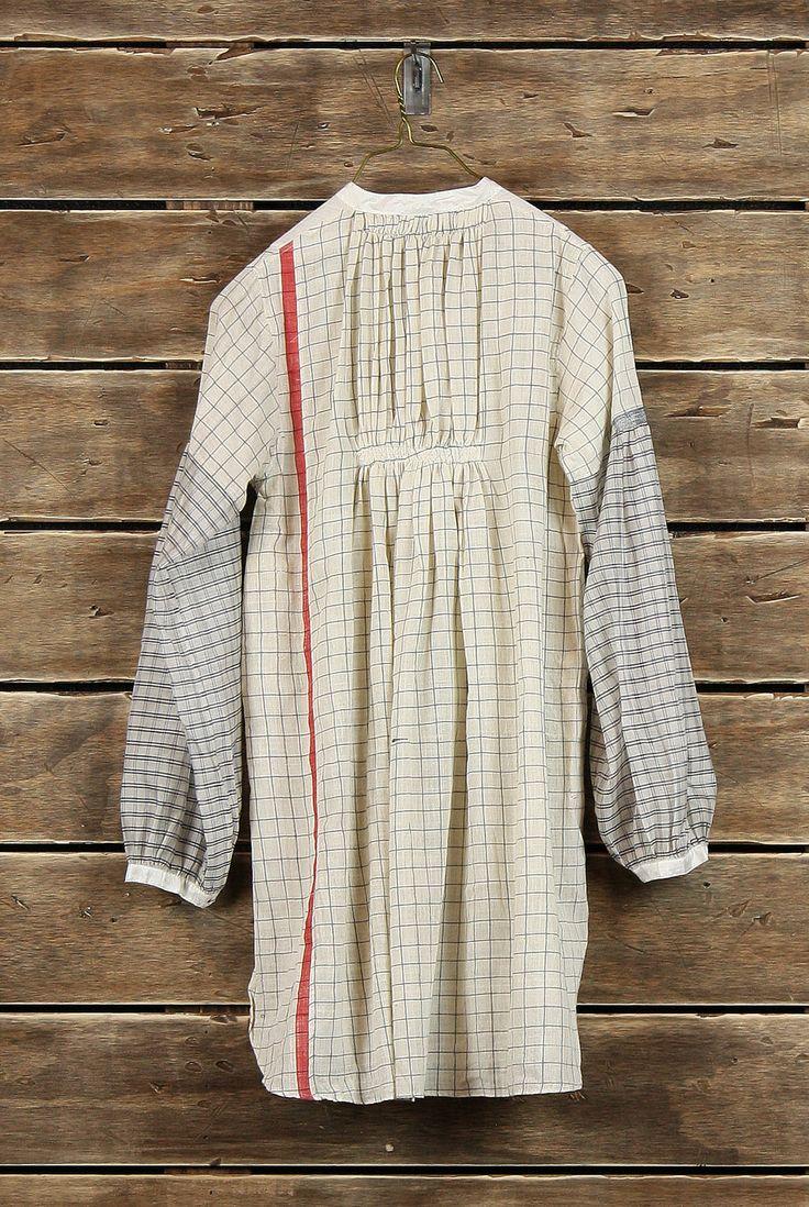 Pale contrast check pattern dress   Back   Tunic