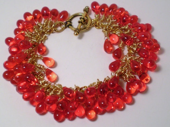 Red Teardrop and Gold Wire Wrapped Bracelet by KirasCreations, $30.00