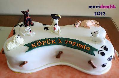 mavi demlik mutfağı- izmir butik pasta kurabiye cupcake tasarım- şeker hamurlu-kur: Köpüğün  Doğum Günü Pastası