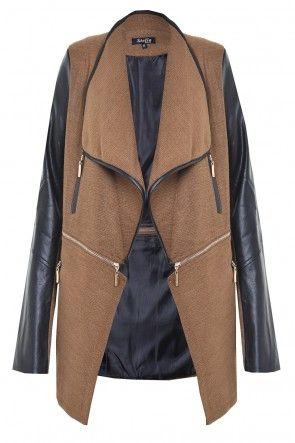 Jenny PVC Sleeve Zip Jacket in Brown