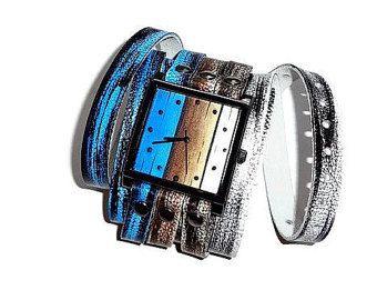 Blauw horloge lederen horloge gekleurde door FamilySkinersStyle