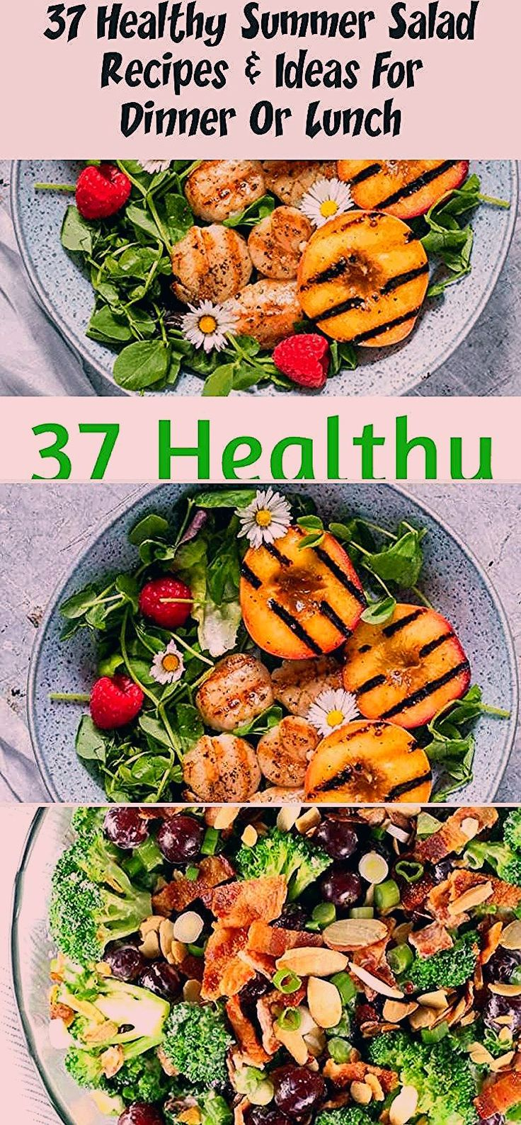 37 Healthy Summer Salad Recipes for a Crowd or Summer picnic or potluck.  Easy recipes with chicken, pasta and veggies for BBQ or dinner.  Low Carb and cold pasta salad recipes #Summersaladrecipes #Sidesaladrecipes #Lettucesaladrecipes #Greeksaladrecipes #saladrecipesForDinner