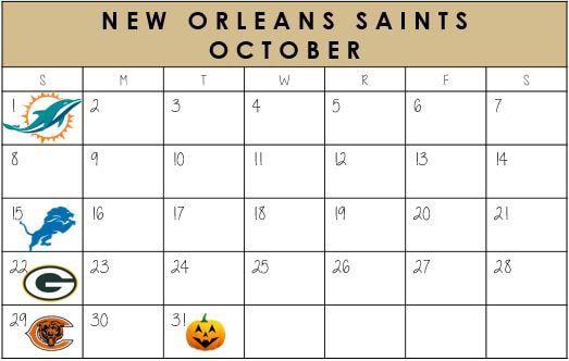 New Orleans Saints October Schedule 2017  #NewOrleans #NOLA #Saints #NFLSchedule #JordinsTurf