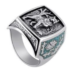 Sterling Silver Turquoise Gemstone Inlay Southwestern Style Wolf Mens Ring Size 7 to 15
