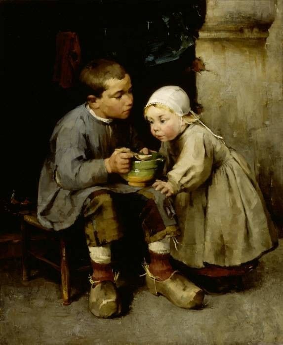 Helena Schjerfbeck Pikkusiskoaan ruokkiva poika, 1881, realismi (naturalismi)