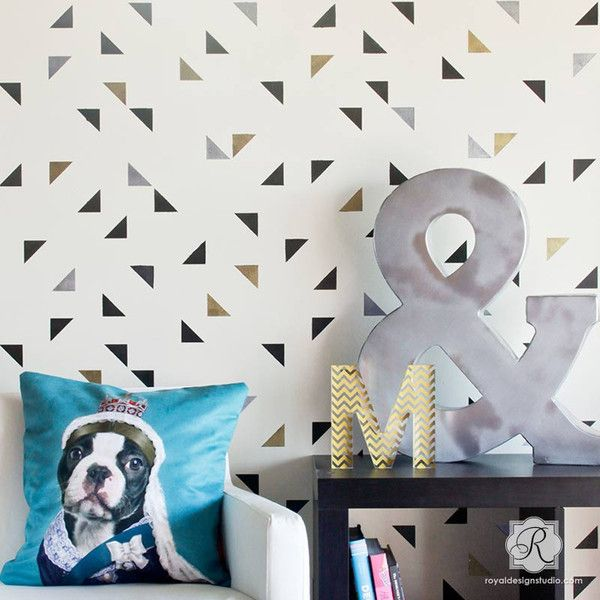 Teens Room, Girls Room, Boys Room, or Kids Room Decor Painted with Modern Triangle Wallpaper Wall Stencils - Royal Design Studio