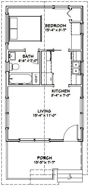 16x28 1-Bedroom 1-Bath House -- #16X28H1B -- 447 sq ft - Excellent Floor Plans