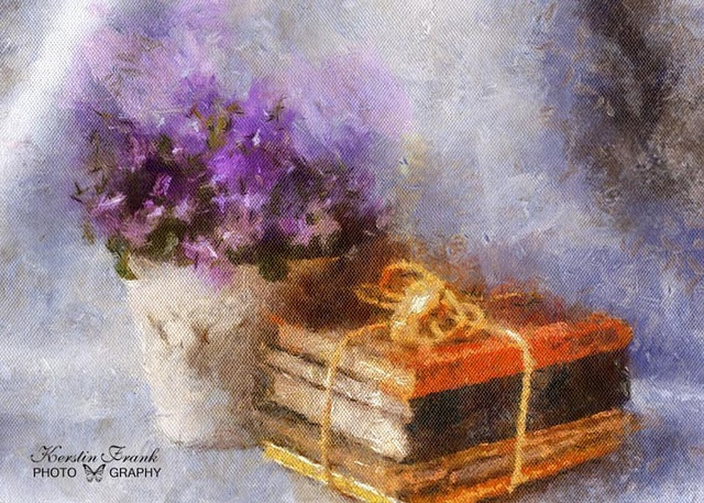 Flower and books by Kerstin Frank art, via Flickr