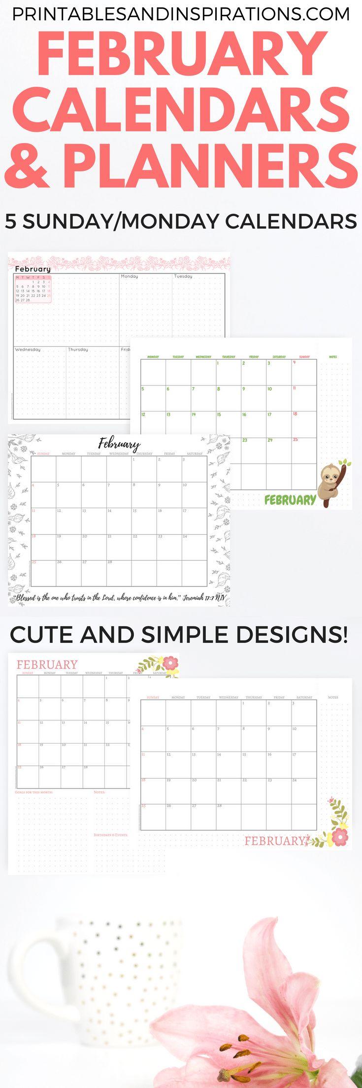 February 2018 printable calendars, printable planners, monthly planner, weekly planner, February calendar printables