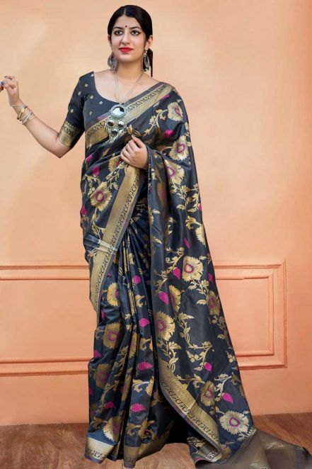 3fad54c4d2722b  Banarasi  Sarees 2018 - Wide Banarasi Silk Designer Saree in  Grey With  Matching Silk Blouse Dupatta