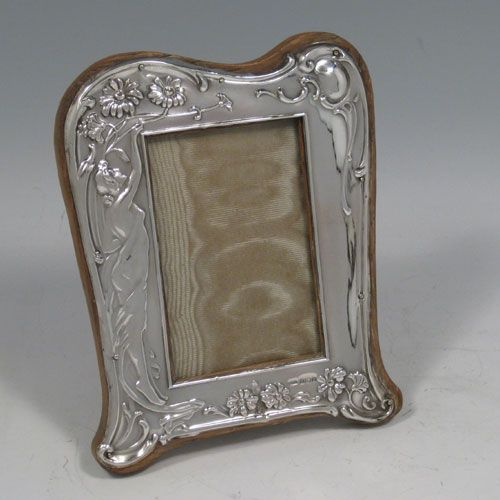Antique Edwardian Sterling Silver Art Nouveau Photo Frame