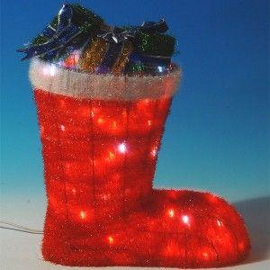 Φωτιζόμενη διακοσμητική μπότα 75cm κόκκινη με δώρα