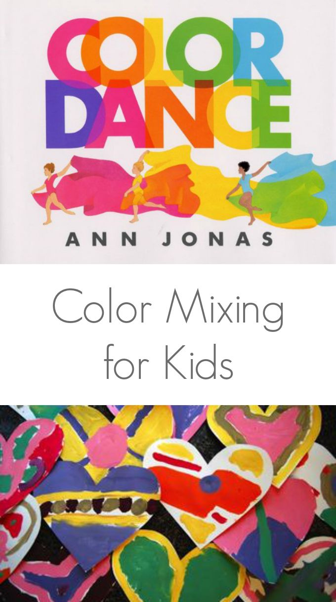 a lesson in mixing colors for kids while making heart art - Color For Kid