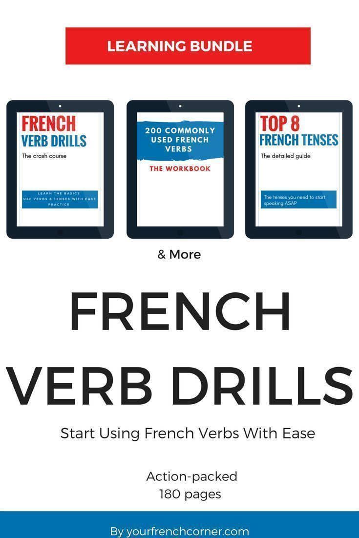 This bundle includes a total of 180 pages.   	French Verb Drills: a crash course (41 pages)  	Top 8 Most Used French Tenses : a detailed guide (15 pages)  	200 Most Commonly Used French Verbs: …