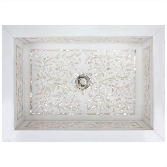 Linkasink Bathroom Sinks – White Marble Mother of Pearl Inlay – MI02 Floral Undermount Bath Sink
