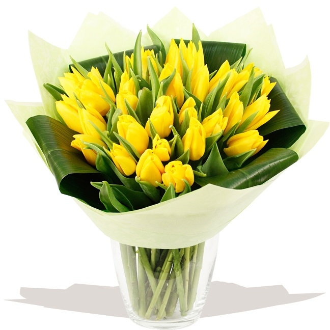 Flowers EASTER 2013 Luxury Edged Tulip Hand-tied (Yellow)