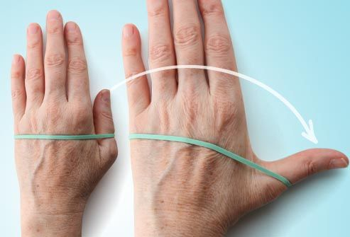 Thumb Extension  Strengthening the muscles of your thumbs can help you grab and lift heavy things like cans and bottles.       Put your hand flat on a table. Wrap a rubber band around your hand at the base of your finger joints.      Gently move your thumb away from your fingers as far as you can. Hold for 30 to 60 seconds and release.      Repeat 10 to 15 times with both hands. You can do this exercise two to three times a week, but rest your hands for 48 hours in between sessions.