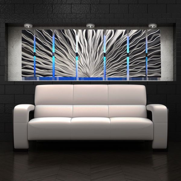 12 best led lighted wall art images on pinterest metal walls silver vibration led abstract metal wall art with led infused color changing lighting remote control aloadofball Images