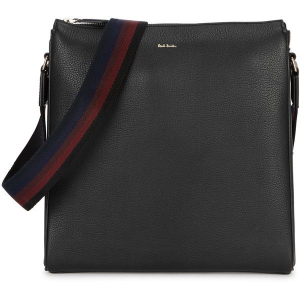 Paul Smith City Black Leather Cross-body Bag (7,570 MXN) ❤ liked on Polyvore featuring men's fashion, men's bags and paul smith
