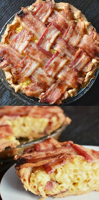 Macaroni and Cheese Pie with a Bacon Lattice Crust - the absolute ultimate in comfort food! ❊