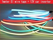 12 V 1 m fita led Flexível El Neon Luz Brilho EL Corda de fio de Cabo à prova d' água levou tira luzes + 12 V Do cigarro Do Carro mais leve(China (Mainland))