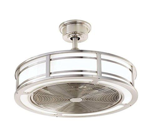 Brette 23 in. LED Indoor/Outdoor Brushed Nickel Ceiling Fan -- Amazon $300 -- center light fixture for pass thru media lounge