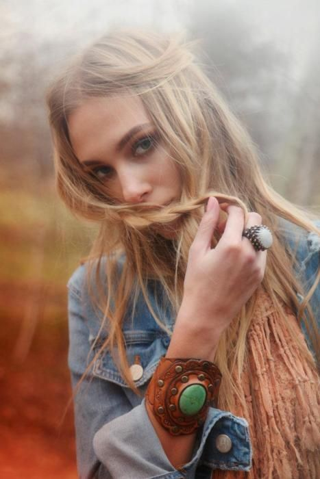 .: Festivals Style, Bracelets, Long Hair, Denim Shirts, Leather Cuffs, Rings, Statement Jewelry, Tools Leather, Turquoi Cuffs